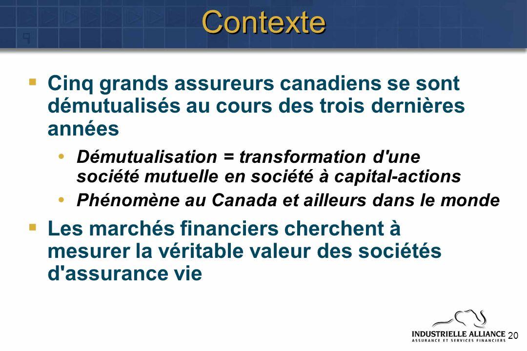 20 Contexte Cinq grands assureurs canadiens se sont démutualisés au cours des trois dernières années Démutualisation = transformation d une société mutuelle en société à capital-actions Phénomène au Canada et ailleurs dans le monde Les marchés financiers cherchent à mesurer la véritable valeur des sociétés d assurance vie