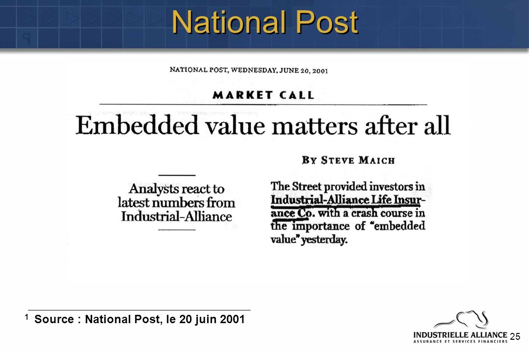 25 National Post 1 Source : National Post, le 20 juin 2001