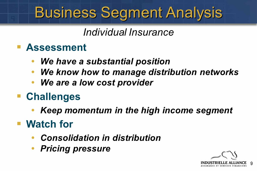 10 Business Segment Analysis Assessment We have upgraded the quality of the captive channel (accounts for 45% of business) Investment performance has steadily improved since 2000.