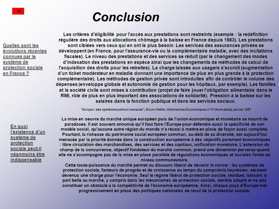 Conclusion Les critères d éligibilité pour l accès aux prestations sont restreints (exemple : la redéfinition régulière des droits aux allocations chômage à la baisse en France depuis 1983).