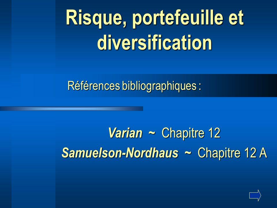 Risque, portefeuille et diversification Varian Varian ~ ~ Chapitre 12 Samuelson-Nordhaus Samuelson-Nordhaus ~ ~ Chapitre 12 A Références bibliographiques :