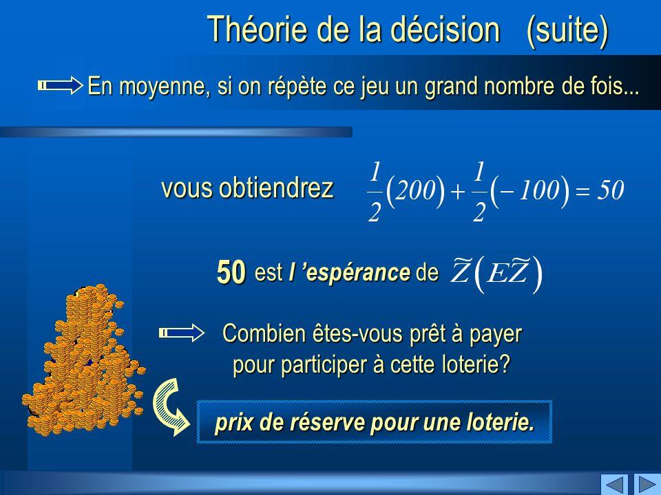 SuivantPrécédent Théorie de la décision (suite) En moyenne, si on répète ce jeu un grand nombre de fois...