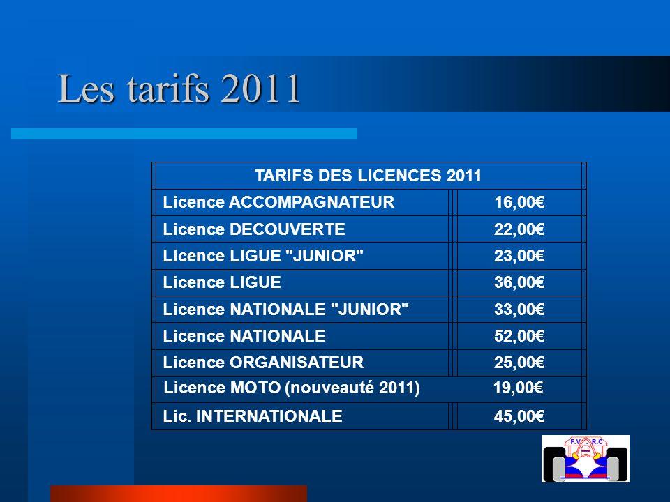 Les tarifs 2011 TARIFS DES LICENCES 2011 Licence ACCOMPAGNATEUR16,00 Licence DECOUVERTE22,00 Licence LIGUE