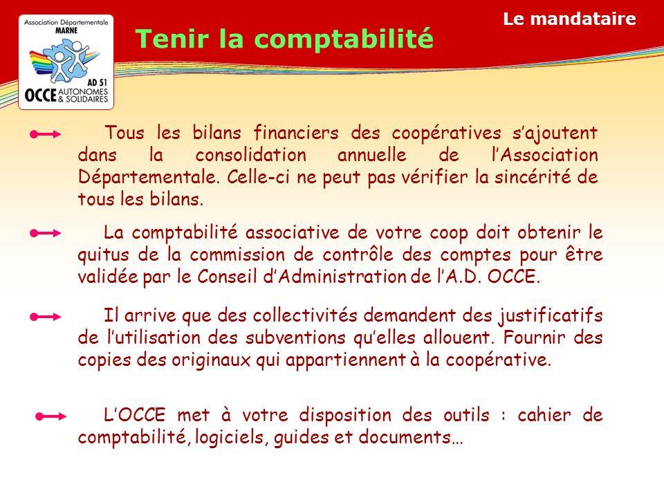 Tous les bilans financiers des coopératives sajoutent dans la consolidation annuelle de lAssociation Départementale.