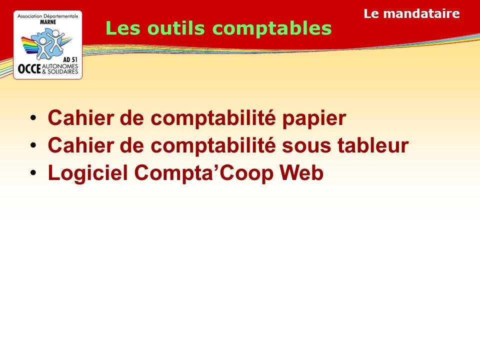 Le mandataire Cahier de comptabilité papier Cahier de comptabilité sous tableur Logiciel ComptaCoop Web Les outils comptables