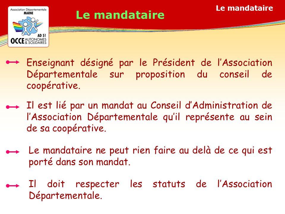 Le mandataire Enseignant désigné par le Président de lAssociation Départementale sur proposition du conseil de coopérative.
