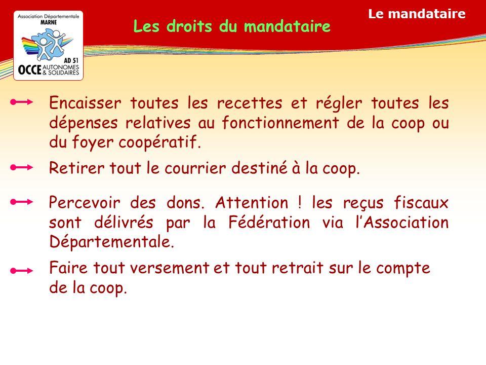 Le mandataire Les droits du mandataire Encaisser toutes les recettes et régler toutes les dépenses relatives au fonctionnement de la coop ou du foyer coopératif.