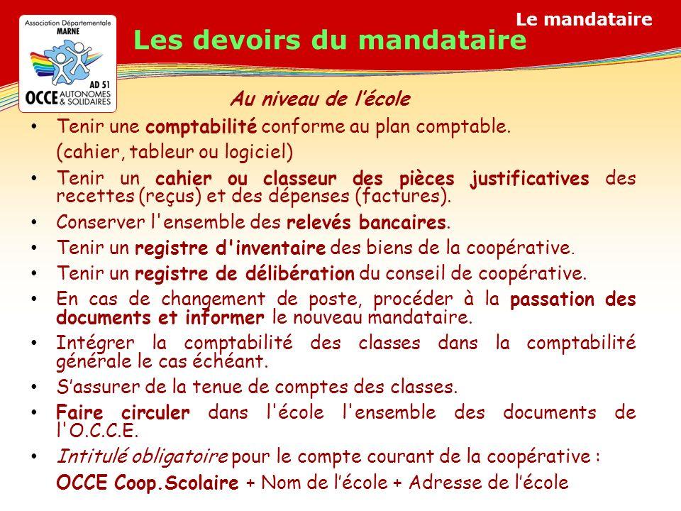 Le mandataire Les devoirs du mandataire Tenir une comptabilité conforme au plan comptable.