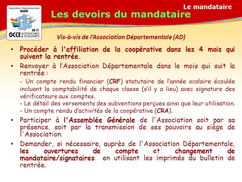 Le mandataire Vis-à-vis de lAssociation Départementale (AD) Procéder à l affiliation de la coopérative dans les 4 mois qui suivent la rentrée.