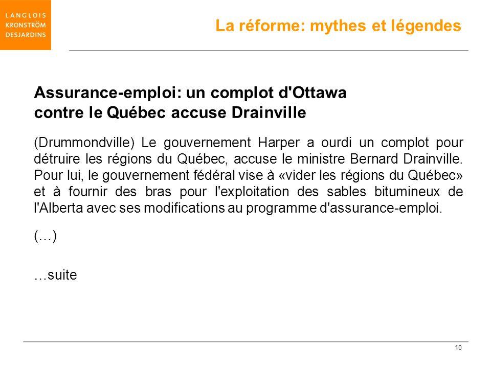 Assurance-emploi: un complot d'Ottawa contre le Québec accuse Drainville (Drummondville) Le gouvernement Harper a ourdi un complot pour détruire les r