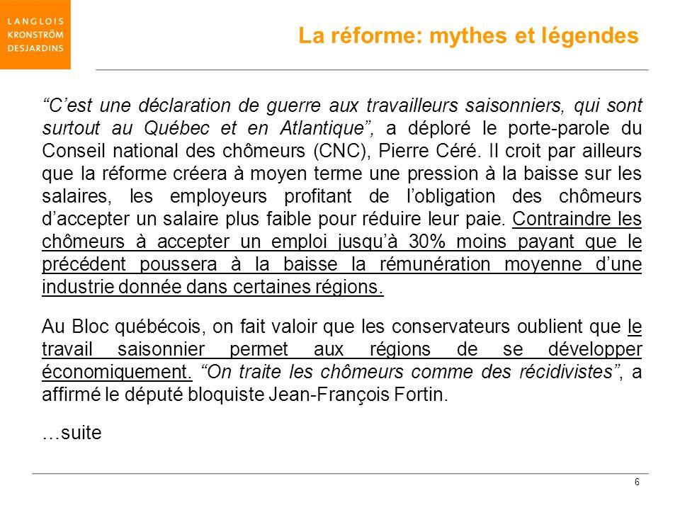 Cest que jusquà présent, la définition demploi convenable était écrite dans la Loi sur lassurance-emploi.