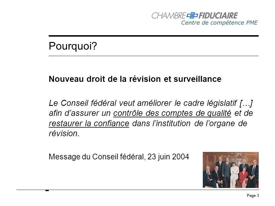 Page 3 Pourquoi? Nouveau droit de la révision et surveillance Le Conseil fédéral veut améliorer le cadre législatif […] afin dassurer un contrôle des