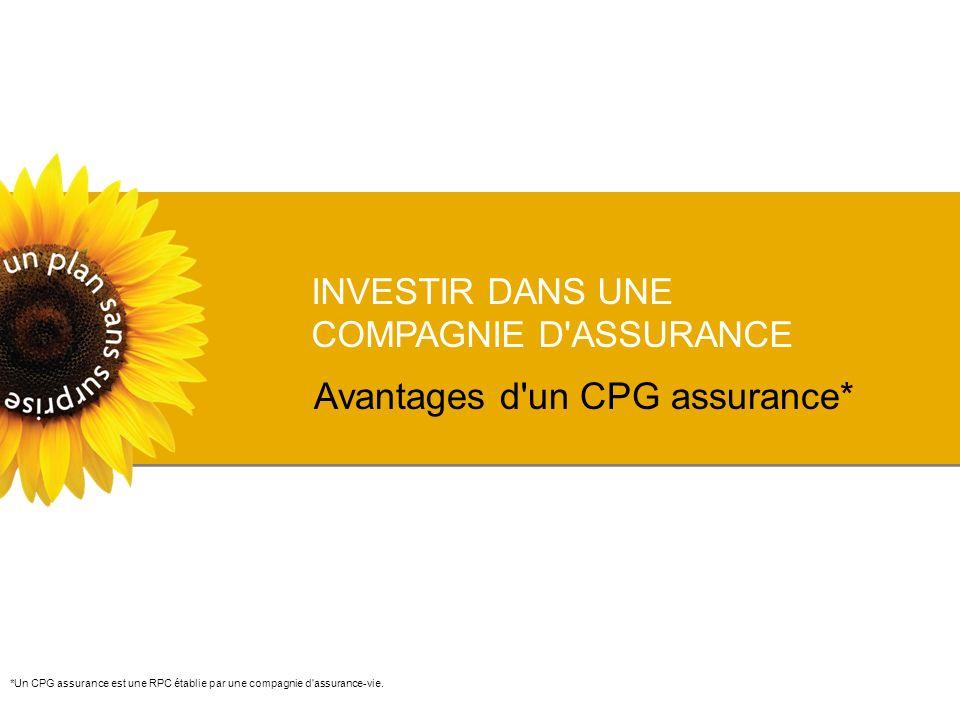 INVESTIR DANS UNE COMPAGNIE D ASSURANCE Avantages d un CPG assurance* *Un CPG assurance est une RPC établie par une compagnie d assurance-vie.