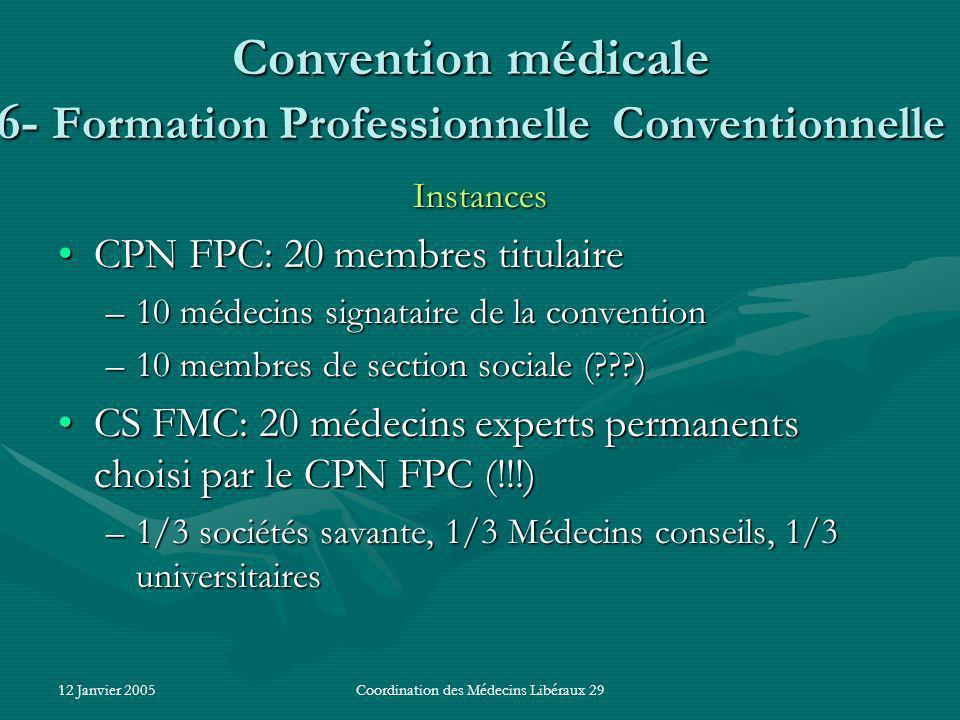 12 Janvier 2005Coordination des Médecins Libéraux 29 Convention médicale 6- Formation Professionnelle Conventionnelle Instances CPN FPC: 20 membres titulaireCPN FPC: 20 membres titulaire –10 médecins signataire de la convention –10 membres de section sociale ( ) CS FMC: 20 médecins experts permanents choisi par le CPN FPC (!!!)CS FMC: 20 médecins experts permanents choisi par le CPN FPC (!!!) –1/3 sociétés savante, 1/3 Médecins conseils, 1/3 universitaires
