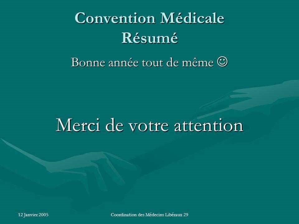 12 Janvier 2005Coordination des Médecins Libéraux 29 Convention Médicale Résumé Bonne année tout de même Bonne année tout de même Merci de votre attention