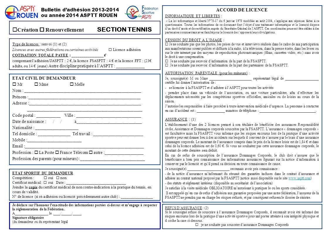 Bulletin dadhésion 2013-2014 ou année 2014 ASPTT ROUEN Création Renouvellement SECTION TENNIS ETAT CIVIL DU DEMANDEUR Mr Mme Melle Nom : _____________