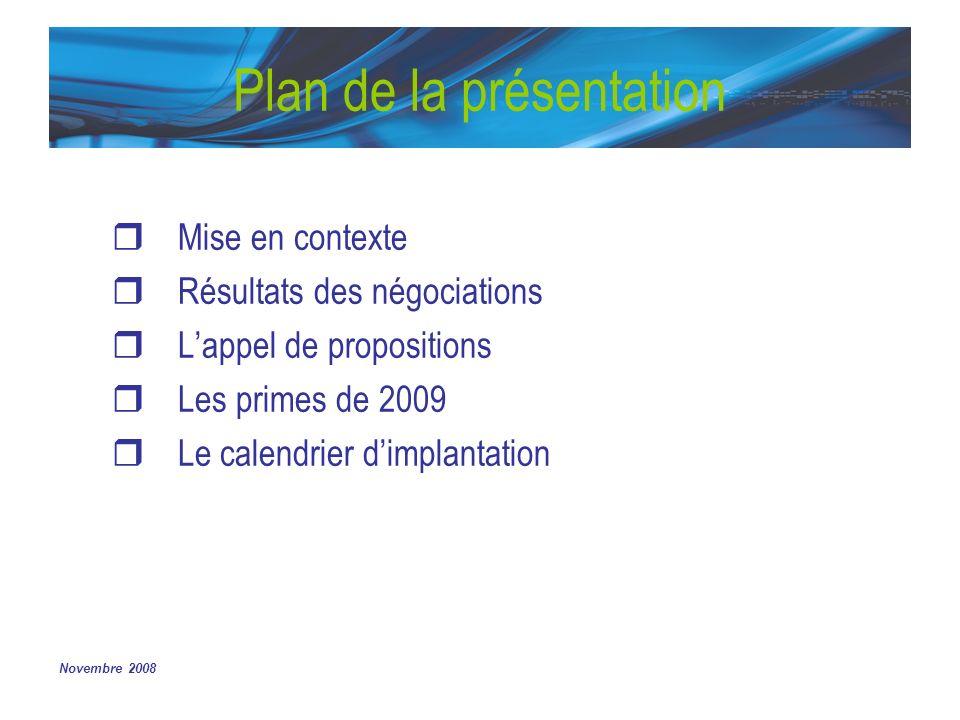 Plan de la présentation Mise en contexte Résultats des négociations Lappel de propositions Les primes de 2009 Le calendrier dimplantation