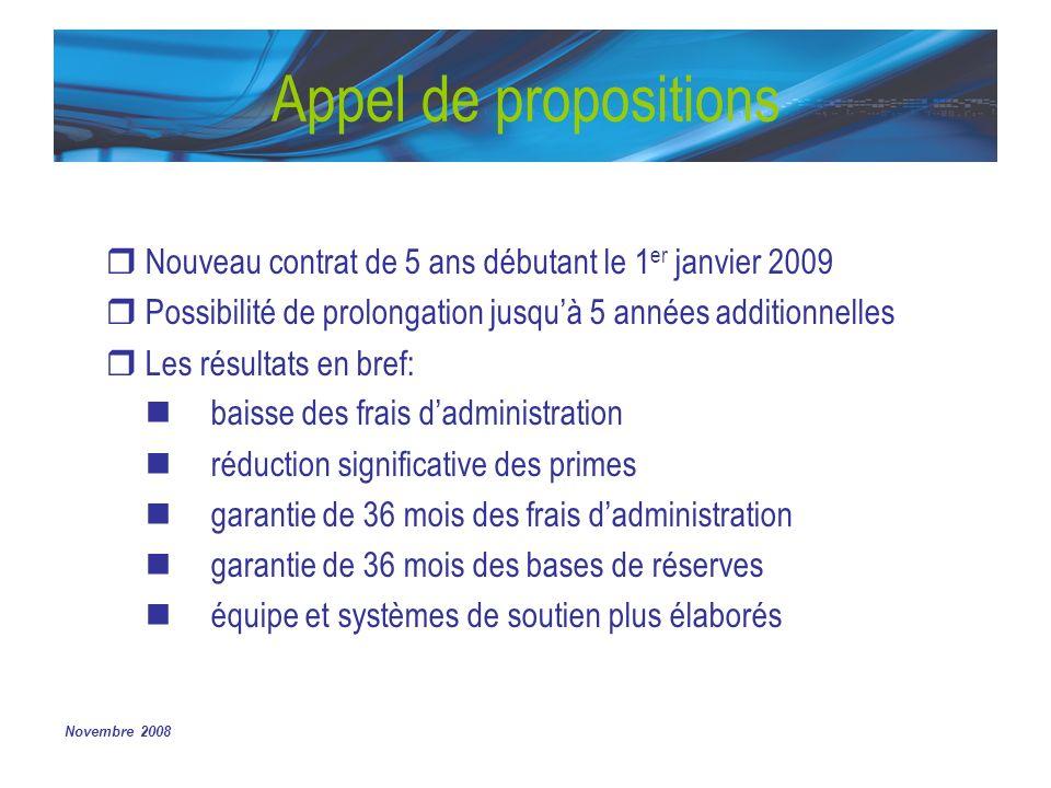 Novembre 2008 Appel de propositions Nouveau contrat de 5 ans débutant le 1 er janvier 2009 Possibilité de prolongation jusquà 5 années additionnelles