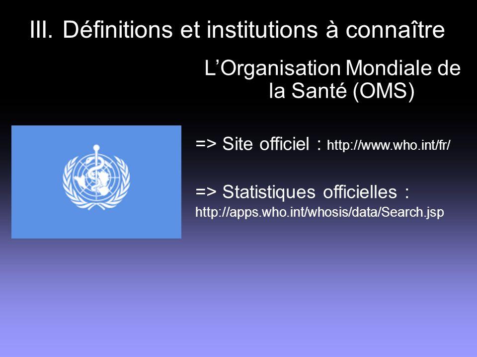 III. Définitions et institutions à connaître LOrganisation Mondiale de la Santé (OMS) => Site officiel : http://www.who.int/fr/ => Statistiques offici