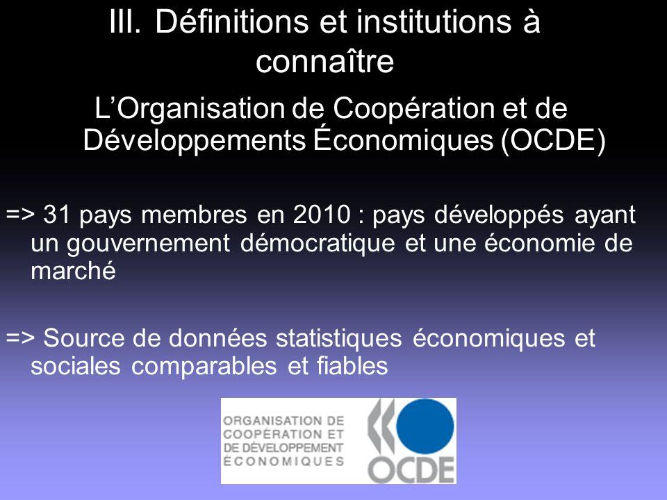 III. Définitions et institutions à connaître LOrganisation de Coopération et de Développements Économiques (OCDE) => 31 pays membres en 2010 : pays dé