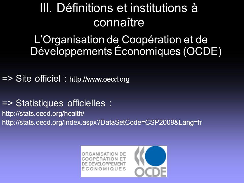 III. Définitions et institutions à connaître LOrganisation de Coopération et de Développements Économiques (OCDE) => Site officiel : http://www.oecd.o