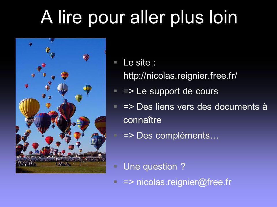 A lire pour aller plus loin Le site : http://nicolas.reignier.free.fr/ => Le support de cours => Des liens vers des documents à connaître => Des compl