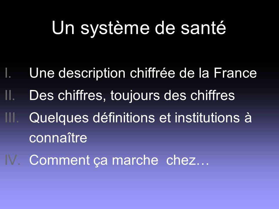 Un système de santé I. Une description chiffrée de la France II. Des chiffres, toujours des chiffres III. Quelques définitions et institutions à conna