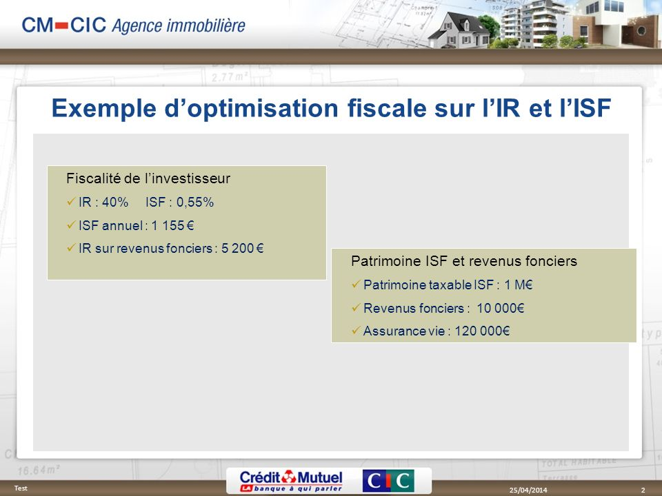Exemple doptimisation fiscale sur lIR et lISF 25/04/2014 Test 2 Fiscalité de linvestisseur IR : 40% ISF : 0,55% ISF annuel : 1 155 IR sur revenus fonc
