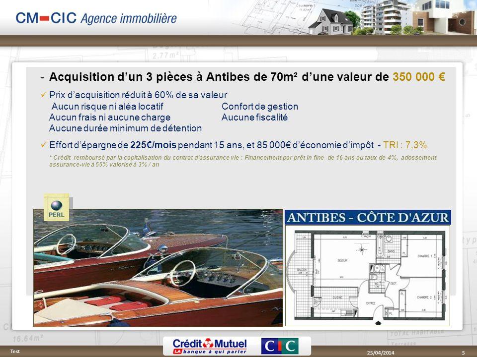 Acquisition dun 3 pièces à Antibes de 70m² dune valeur de 350 000 Prix dacquisition réduit à 60% de sa valeur Aucun risque ni aléa locatif Confort de