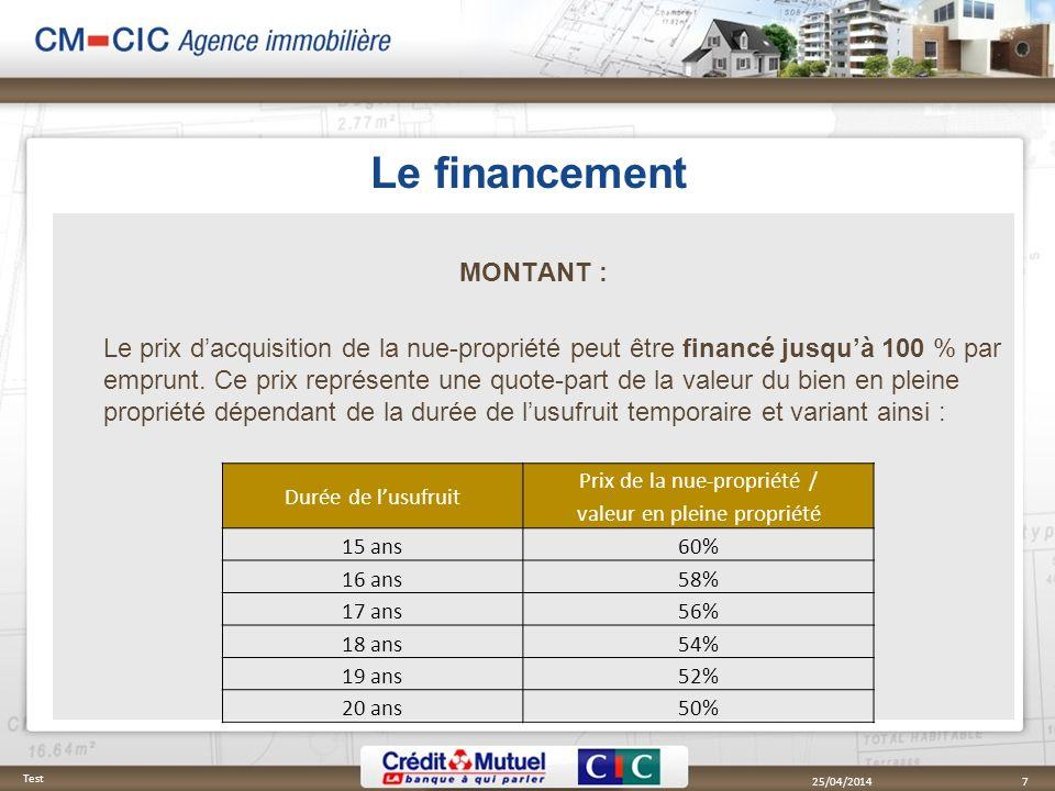Le financement MONTANT : Le prix dacquisition de la nue-propriété peut être financé jusquà 100 % par emprunt. Ce prix représente une quote-part de la