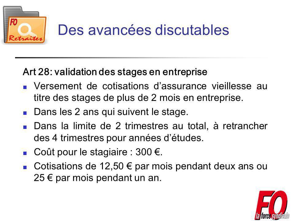 Art 28: validation des stages en entreprise Versement de cotisations dassurance vieillesse au titre des stages de plus de 2 mois en entreprise.