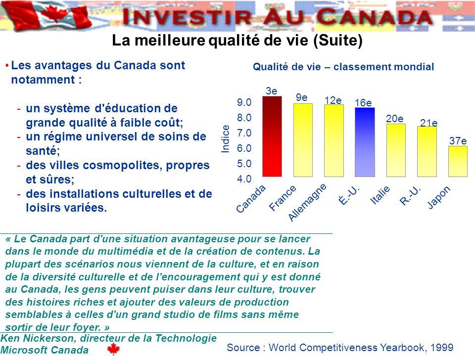 La meilleure qualité de vie (Suite) Ken Nickerson, directeur de la Technologie Microsoft Canada Qualité de vie – classement mondial 4.0 5.0 6.0 7.0 8.