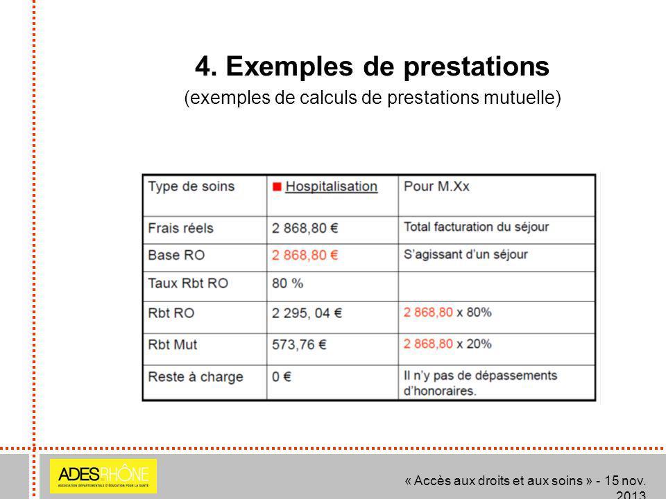 4. Exemples de prestations (exemples de calculs de prestations mutuelle) « Accès aux droits et aux soins » - 15 nov. 2013