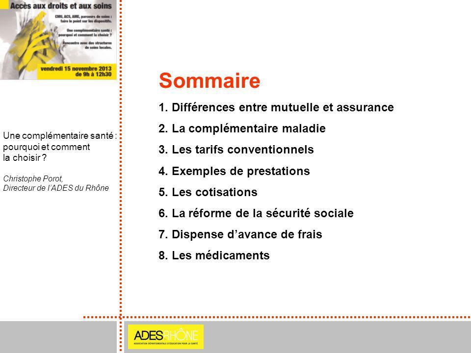 Une complémentaire santé : pourquoi et comment la choisir ? Christophe Porot, Directeur de lADES du Rhône Sommaire 1. Différences entre mutuelle et as
