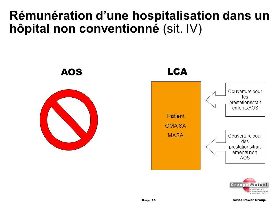Page 18 Patient GMA SA MASA AOS LCA Couverture pour les prestations/trait ements AOS Couverture pour des prestations/trait ements non AOS Rémunération