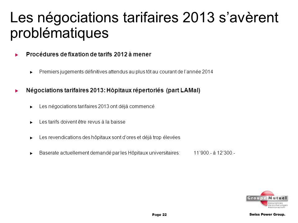 Page 22 Les négociations tarifaires 2013 savèrent problématiques Procédures de fixation de tarifs 2012 à mener Premiers jugements définitives attendus