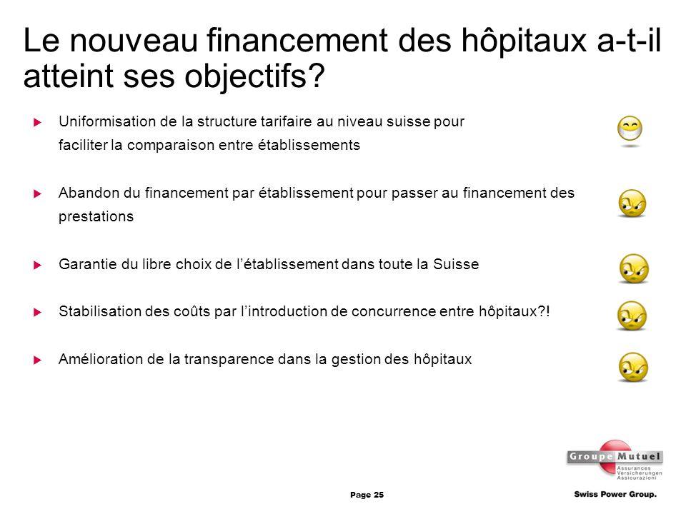 Page 25 Le nouveau financement des hôpitaux a-t-il atteint ses objectifs? Uniformisation de la structure tarifaire au niveau suisse pour faciliter la