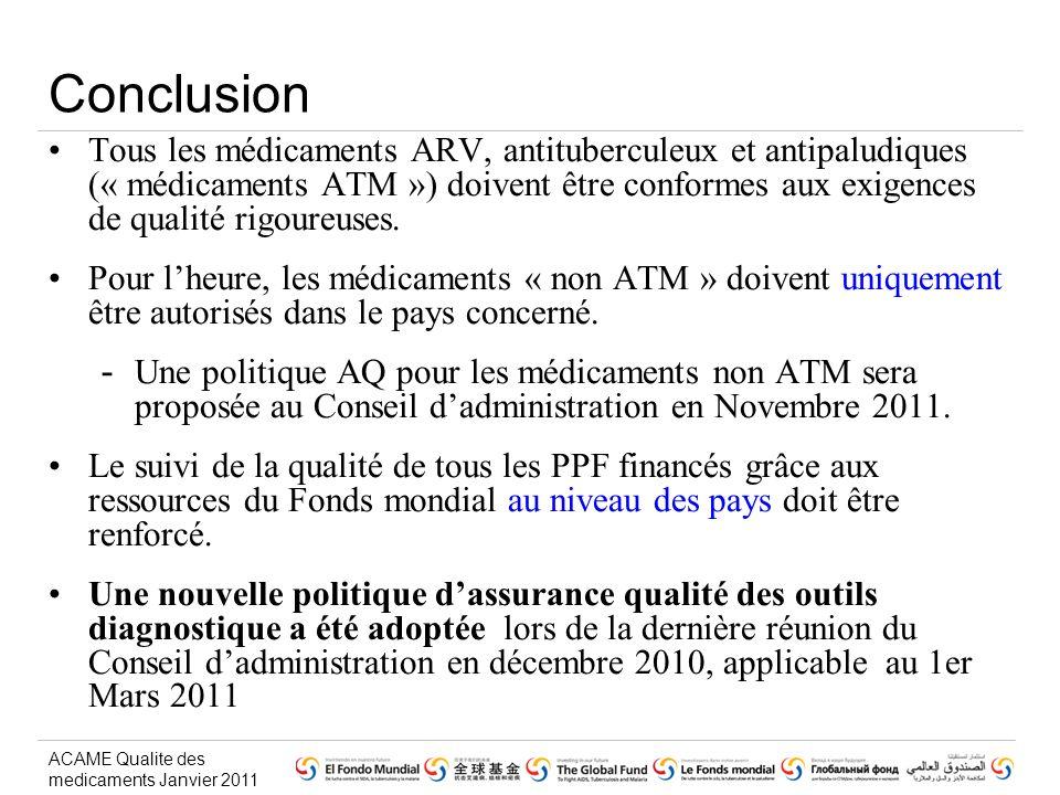 ACAME Qualite des medicaments Janvier 2011 Conclusion Tous les médicaments ARV, antituberculeux et antipaludiques (« médicaments ATM ») doivent être conformes aux exigences de qualité rigoureuses.
