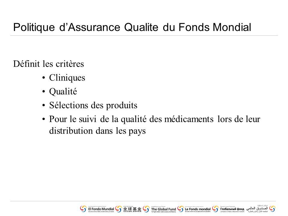 Politique dAssurance Qualite du Fonds Mondial Définit les critères Cliniques Qualité Sélections des produits Pour le suivi de la qualité des médicaments lors de leur distribution dans les pays