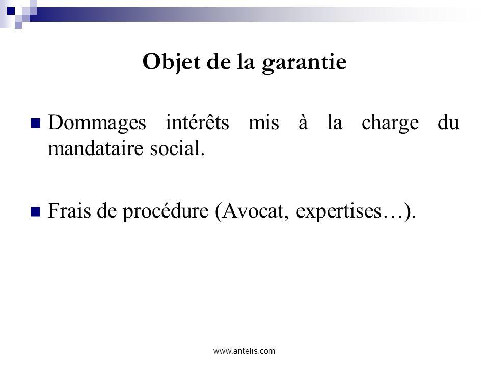 Objet de la garantie Dommages intérêts mis à la charge du mandataire social. Frais de procédure (Avocat, expertises…). www.antelis.com