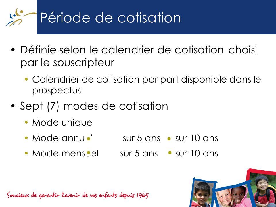 Période de cotisation Définie selon le calendrier de cotisation choisi par le souscripteur Calendrier de cotisation par part disponible dans le prospe