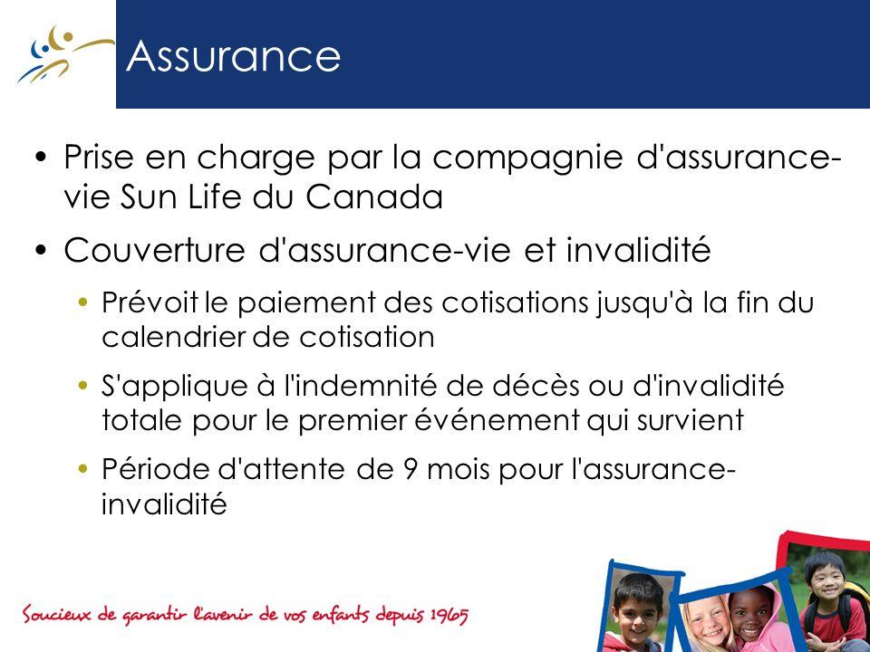 Assurance Prise en charge par la compagnie d'assurance- vie Sun Life du Canada Couverture d'assurance-vie et invalidité Prévoit le paiement des cotisa