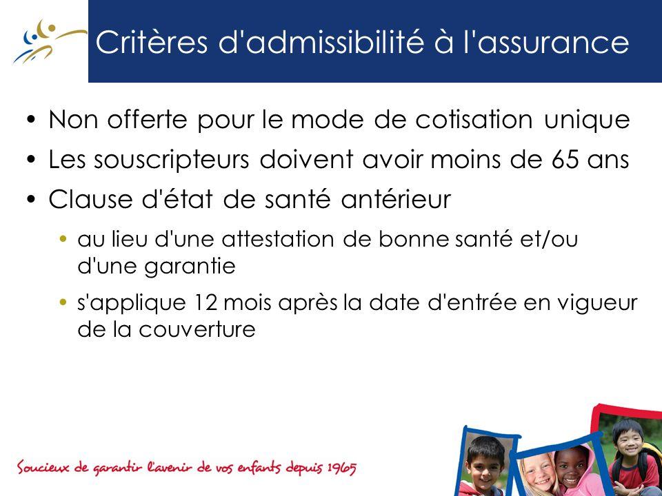 Critères d'admissibilité à l'assurance Non offerte pour le mode de cotisation unique Les souscripteurs doivent avoir moins de 65 ans Clause d'état de