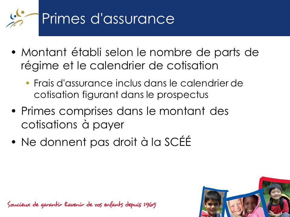 Primes d'assurance Montant établi selon le nombre de parts de régime et le calendrier de cotisation Frais d'assurance inclus dans le calendrier de cot