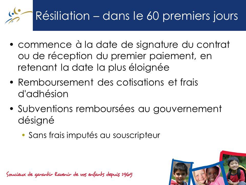 Résiliation – dans le 60 premiers jours commence à la date de signature du contrat ou de réception du premier paiement, en retenant la date la plus él