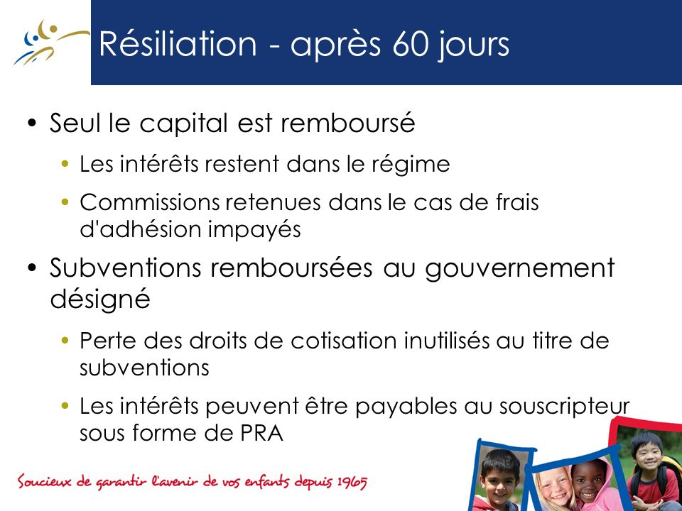Résiliation - après 60 jours Seul le capital est remboursé Les intérêts restent dans le régime Commissions retenues dans le cas de frais d'adhésion im
