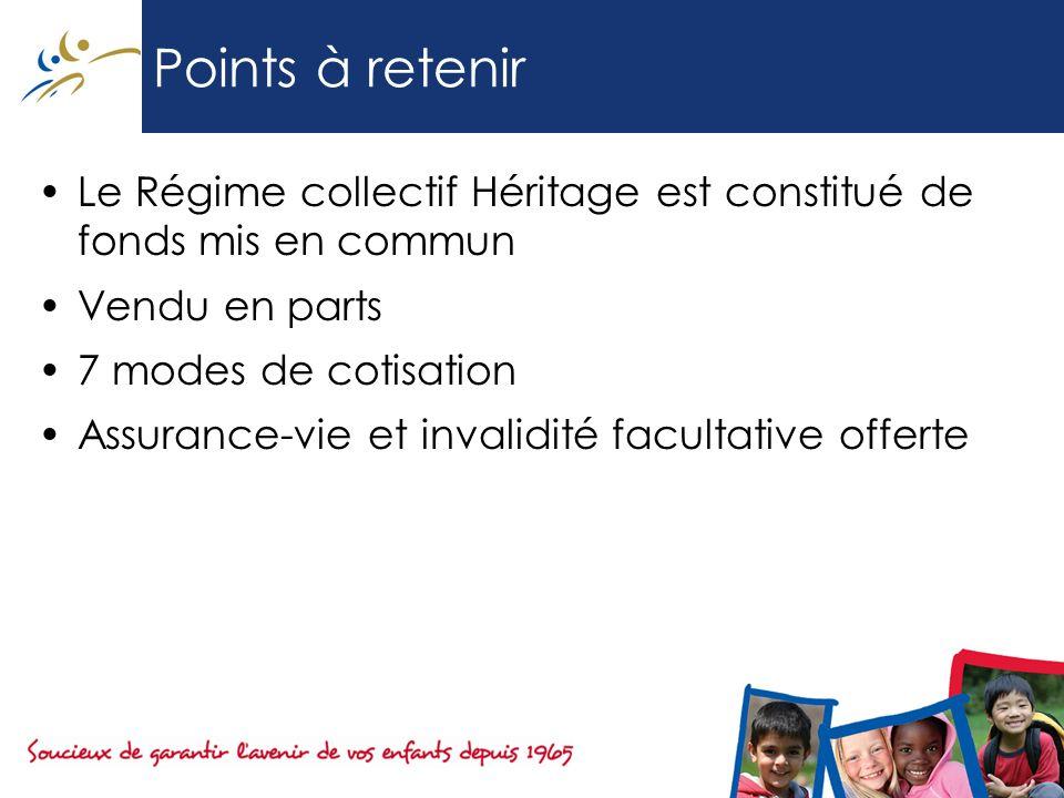 Points à retenir Le Régime collectif Héritage est constitué de fonds mis en commun Vendu en parts 7 modes de cotisation Assurance-vie et invalidité fa