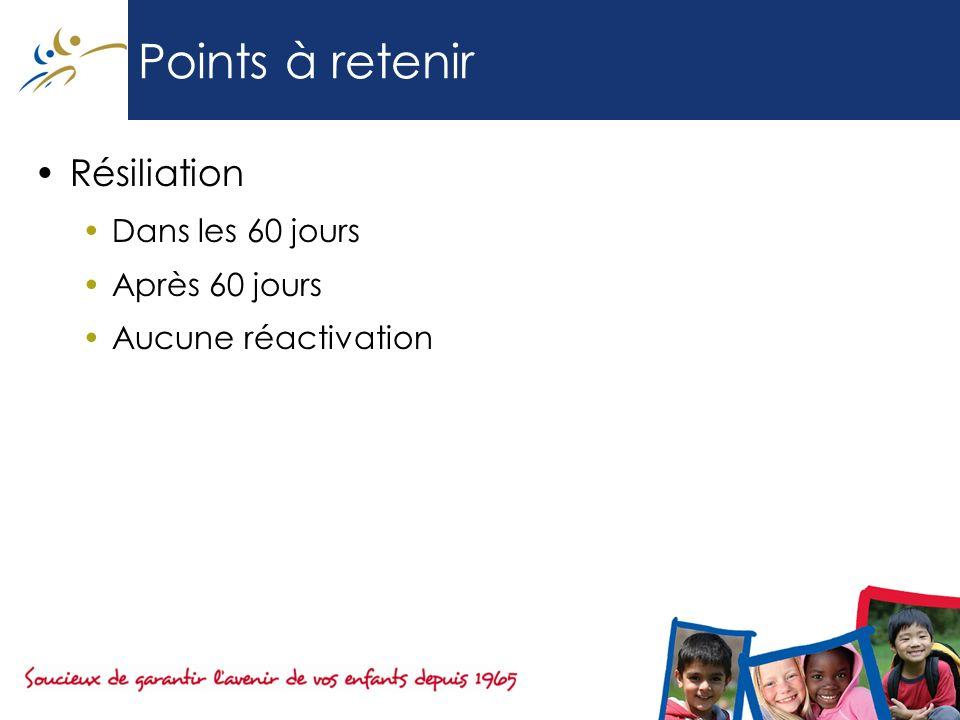 Points à retenir Résiliation Dans les 60 jours Après 60 jours Aucune réactivation