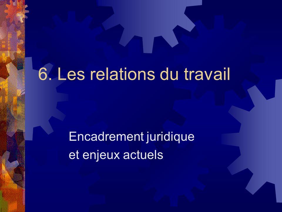6. Les relations du travail Encadrement juridique et enjeux actuels