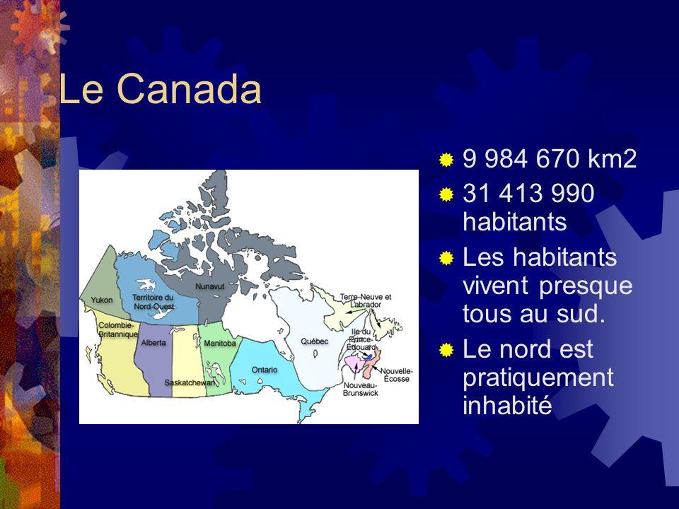 Le Canada 9 984 670 km2 31 413 990 habitants Les habitants vivent presque tous au sud. Le nord est pratiquement inhabité